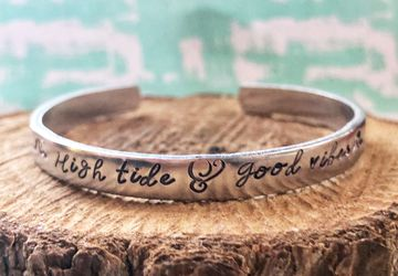 High Tide and Good Vibes Aluminum Cuff Bracelet