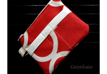 Key Fob Wallet, Small Minimalist Fabric Wallet, Red Small Pouch, Keychain Wallet Pouch, Keychain Card Holder, Earbud Case