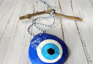Paper Mache Blue Evil Eye Wall Decor