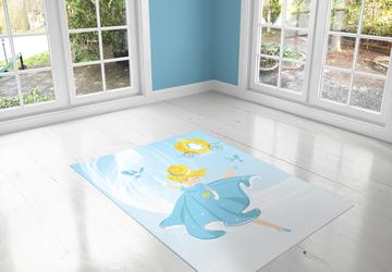 Cinderella , PVC Carpet print, kids Room Decor ,Girls Carpets, Girls Nursery Art, Gift for Girls, Art for Girls Room, Dancer illustration Active