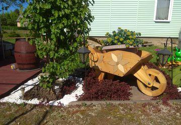 Wooden handmade wheelbarrow