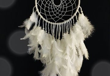 Big white dream catcher with white feathers, baby nursery , baby shower