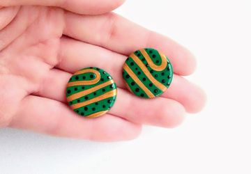 Green striped studs, green and gold studs, round studs, large studs, massive studs, lightweight studs, minimalist studs, everyday studs