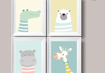 Cute animals 4 print set, children wall art,Playroom print, kids poster, nursery poster, kids wall art decor, playroom art.