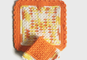 Orange Dishcloth Set
