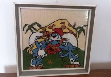 vintage gobelin family smurf, Smurfette, smurf, Father smurf