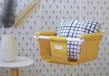 Byel Basic indoor baby swing. Mustard yellow boho nursery decor, swing chair