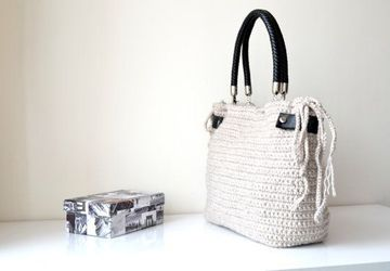 Cream / Beige Crocheted Handbag Celebrity Style,Crochet winter bag- shoulder bag- crochet bag-