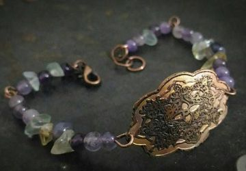 Copper vintage engraved bracelet,gemstone bracelet,antiquated cameo bracelet with amethyst,pink quartz,citrine gemstones