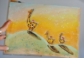 Giraffes Watercolor Illustration. Home Decor. Nursery Decor. Wall Art. Baby Room Decor