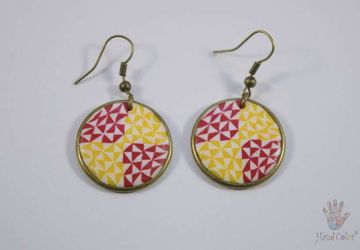 Portuguese Ceramic Tiles Round Earrings - BCDA-2-63
