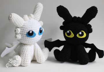 Night Fury Toothless Light Furry How to train your dragon Chibi Plushie Amigurumi Stuffed Toy Doll Handmade Softies Gift Baby Crochet Plush