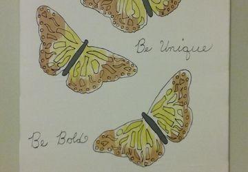 Handmade Butterfly Silk Painting 24X30