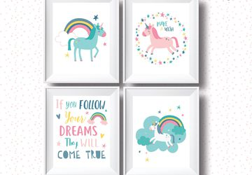 Follow your dreams , unicorn print set