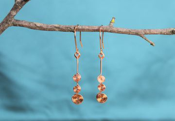 Copper wire, spiral earrings, dangle, fishhook