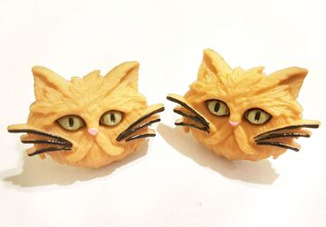 Ginger Cat Post Earrings #23