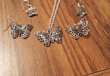 Butterfly Earrings and Necklace