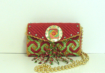Red,Gold and Green Jeweled Clutch/Evening bag