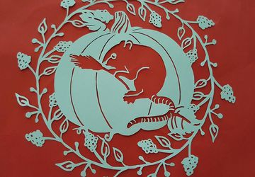 Fieldmouse with Pumpkin papercutting template|birthday, nursery, nature, Autumn, Fall, Thanksgiving | Commercial Licence