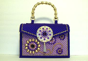 Purple and Gold Jeweled Handbag