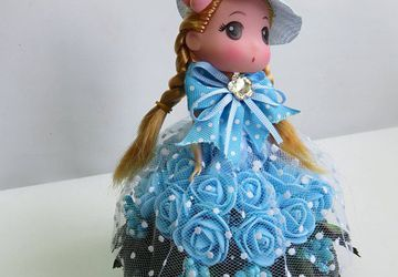 BLUE DRESS FLOWER DOLL,