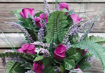 Purple Roses Silk Floral Arrangement