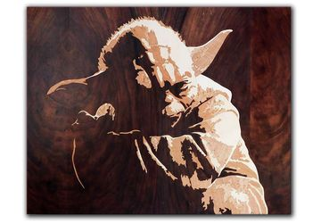 ORIGINAL marquetry wooden Yoda master of Star wars scifi movie by Andulino