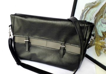 Black and grey faux leather vegan unisex laptop computer work office satchel messenger bag