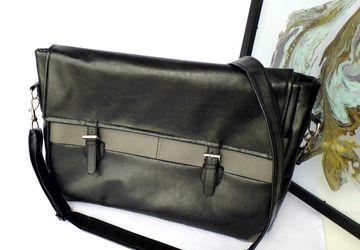 Black and grey faux leather vegan unisex laptop computer work office satchel messenger bag
