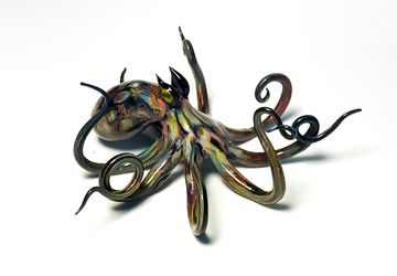 Caribbean Reef Octopus - Borosilicate Glass Sculpture by Rafael Glass