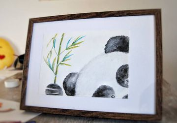 Panda Bamboo Watercolor Illustration. Nursery Decor. Baby Room Decor. Home Art.