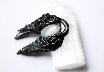 Rainbow moonstone pendant - amulet