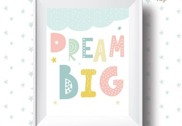 Dream Big, pastel, Playroom print, nursery wall decor, kids poster, nursery print, kids wall art, playroom poster, digital download.