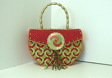 Red,Green and Gold Jeweled Handbag