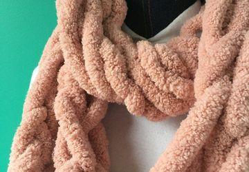 Chunky warm pink arm knit big infinity scarf