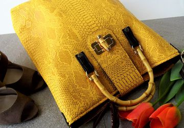 Yellow tote bag, Faux crocodile bag, Oversized handbag, Womens summer bag, Bamboo handle bag, Vegan leather tote, Ladies work bag