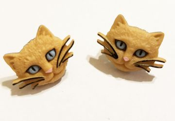 Cute Light Brown Cat Post Earrings #25