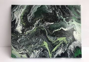 Shades of Green and Black Fluid Art Canvas