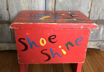 Vintage Red Shoe Shine Box, vintage storage, red crate