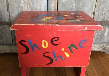 Vintage Red Shoe Shine Box, vintage storage, red crate