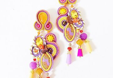 Soutache earrings, yellow earrings, purple earrings, gypsy costume jewelry, belly dancer jewelry, kawaii earrings, autumn pumpkin earrings