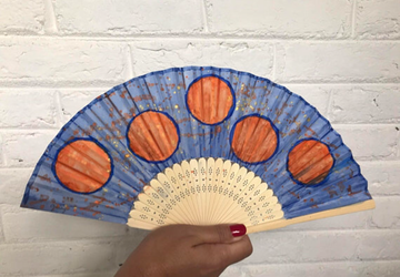 Blue Hand Painted Hand Fan
