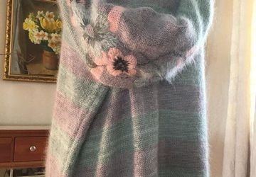 Oversized striped sweater in pastel mint and rose with handmade floral embroidery