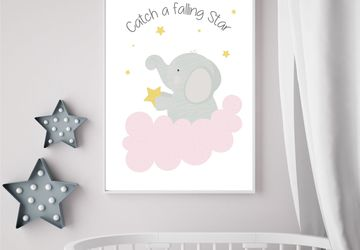 Catch a falling star,elephant , Playroom print, nursery print, wall art, girl, playroom poster, instant digital download,children wall art