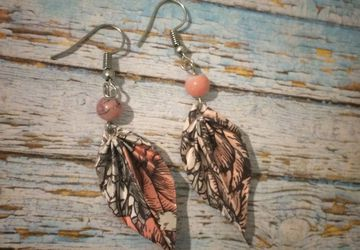 Origami earrings, papercrafts, botanical gardens, pink, origami leaf, unique earrings