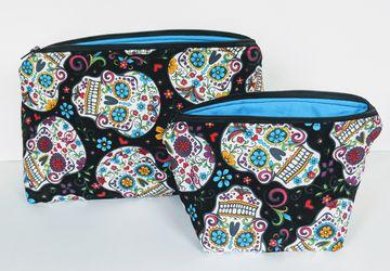 Matching Black Sugar Skull Travel Bag, Travel Cases, Cosmetic Bag, Zipper Bag, School Supply Bag, Organizer, Gift under 20