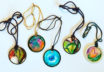 Watercolor Necklaces - Hand Painted, Hand Made