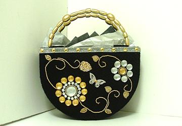 Black,Sliver and Gold Jeweled Handbag