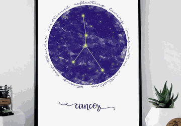 Cancer zodiac sign printable wall art