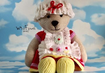 Hand knitted one of a kind teddy bear - Hyacinth.